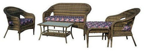 Thy-HOM - St. James 5-Piece All-Weather Wicker Patio Seating Set With Flower Cushions -  - Conversation Set