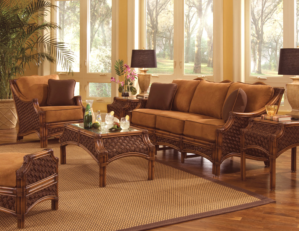 Spice Islands Spice Islands Wicker Mauna Loa 6 Piece Rattan Seating Set in Brownwash Finish Outdoor Seating Set - Rattan Imports