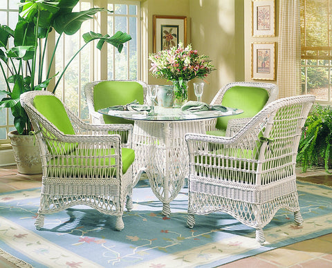 Naples 5 Piece Wicker Dining Set 4x N22 by Designer Wicker from Tribor
