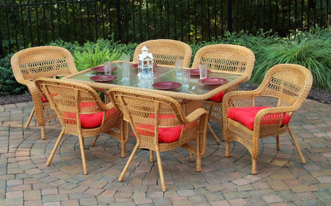 "Tortuga Outdoor Portside 7-Piece Wicker Dining Set (6 chairs, 66"" dining table)"