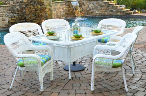 "Tortuga Outdoor Portside 7-Piece Wicker Dining Set (6 chairs, 66"" dining table) SKU#: PSD66"
