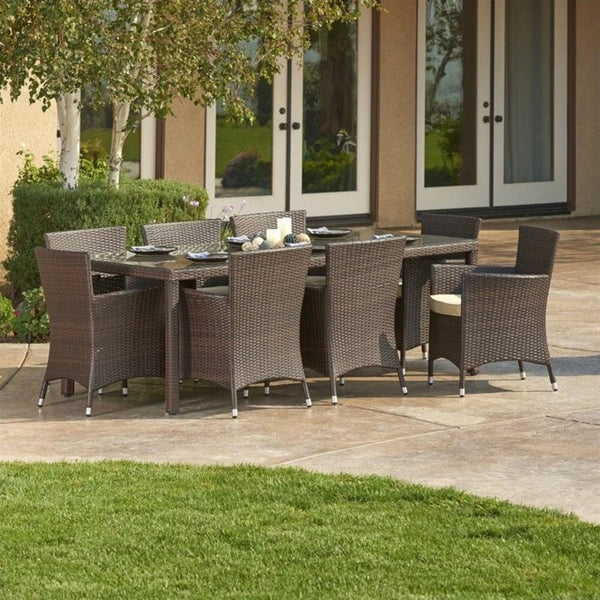 Thy-HOM - Doha 9-Piece All-Weather Wicker Dining Set -  - Thy-HOM Patio Dining Sets - 1