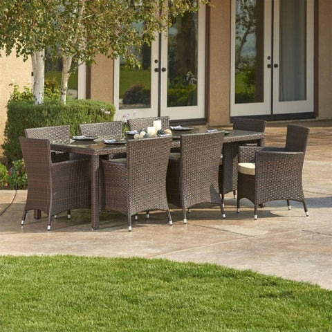 Thy-HOM Doha 9-Piece All-Weather Wicker Dining Set by Thy HOM Thy-HOM Patio Dining Sets - Rattan Imports
