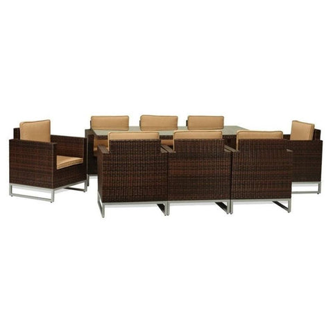 Thy-HOM Mare 9-Piece All-Weather Wicker Dining Set Brown With Beige Cushions by Thy HOM Thy-HOM Patio Dining Sets - Rattan Imports
