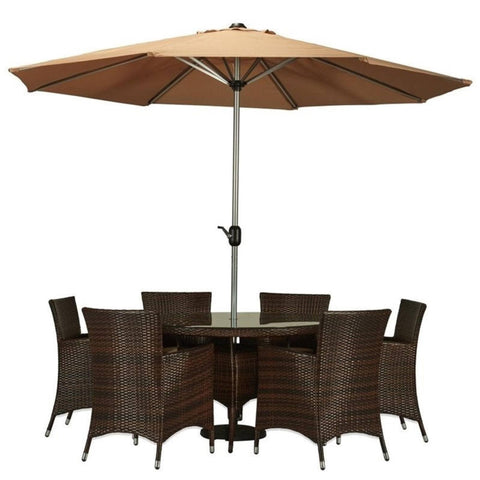Thy-HOM Gita 8-Piece All-Weather Wicker Dining Set Espresso Brown With Beige Umbrella and Cushions by Thy HOM Thy-HOM Patio Dining Sets - Rattan Imports