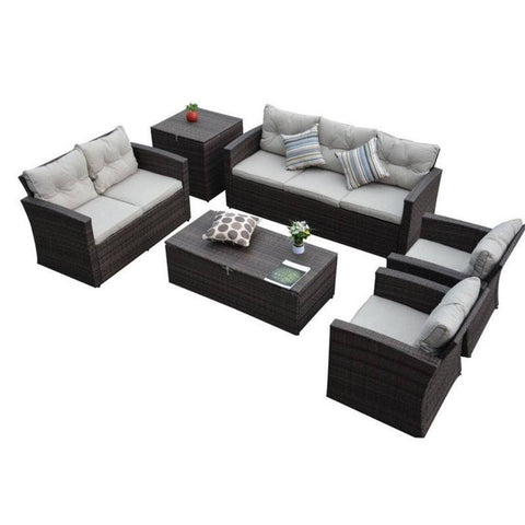 Thy-HOM Rio-6 Piece 7 Seat Dark Brown All Weather Wicker Conversation set with Storage and Tan Color Cushions Conversation Set - Rattan Imports