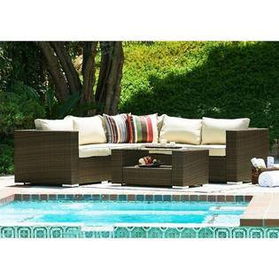 Thy-HOM - Kessler 4 Pieces Outdoor Wicker Sectional Sofa Set -  - Conversation Set