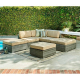 Thy-HOM - Barton 6-Piece All-Weather Grey Wicker Patio Sectional Sofa set With Beige Cushions -  - Conversation Set - 1