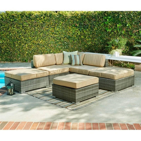Thy-HOM Barton 6-Piece All-Weather Grey Wicker Patio Sectional Sofa set With Beige Cushions by Thy-HOM Conversation Set - Rattan Imports