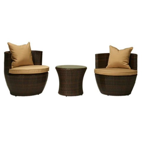 Thy-HOM - Perry 3-Piece All-Weather Wicker Patio Conversation Set -  - Conversation Set