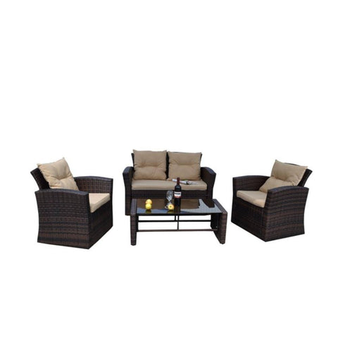 Thy-HOM - Roatan 4 Pieces Outdoor Wicker Conversation Set -  - Conversation Set