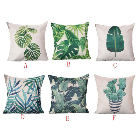 "Rattan Imports Pastoral Style ""Leafy Green"" Square Toss Pillow Cover Pillow - Rattan Imports"