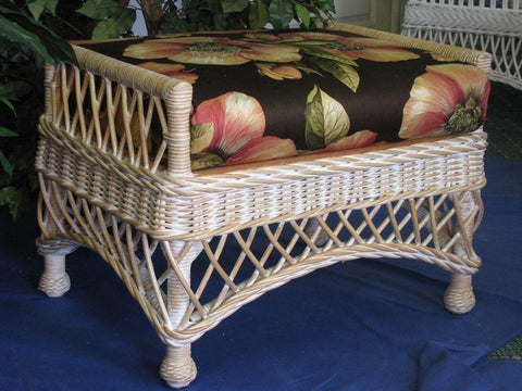 Spice Islands Spice Islands Bar Harbor Ottoman Whitewash Ottoman - Rattan Imports