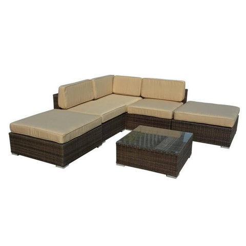 Thy-HOM - Barton 6-Piece All-Weather Dark Brown Wicker Patio Sectional Sofa set With Beige Cushions -  - Conversation Set - 1
