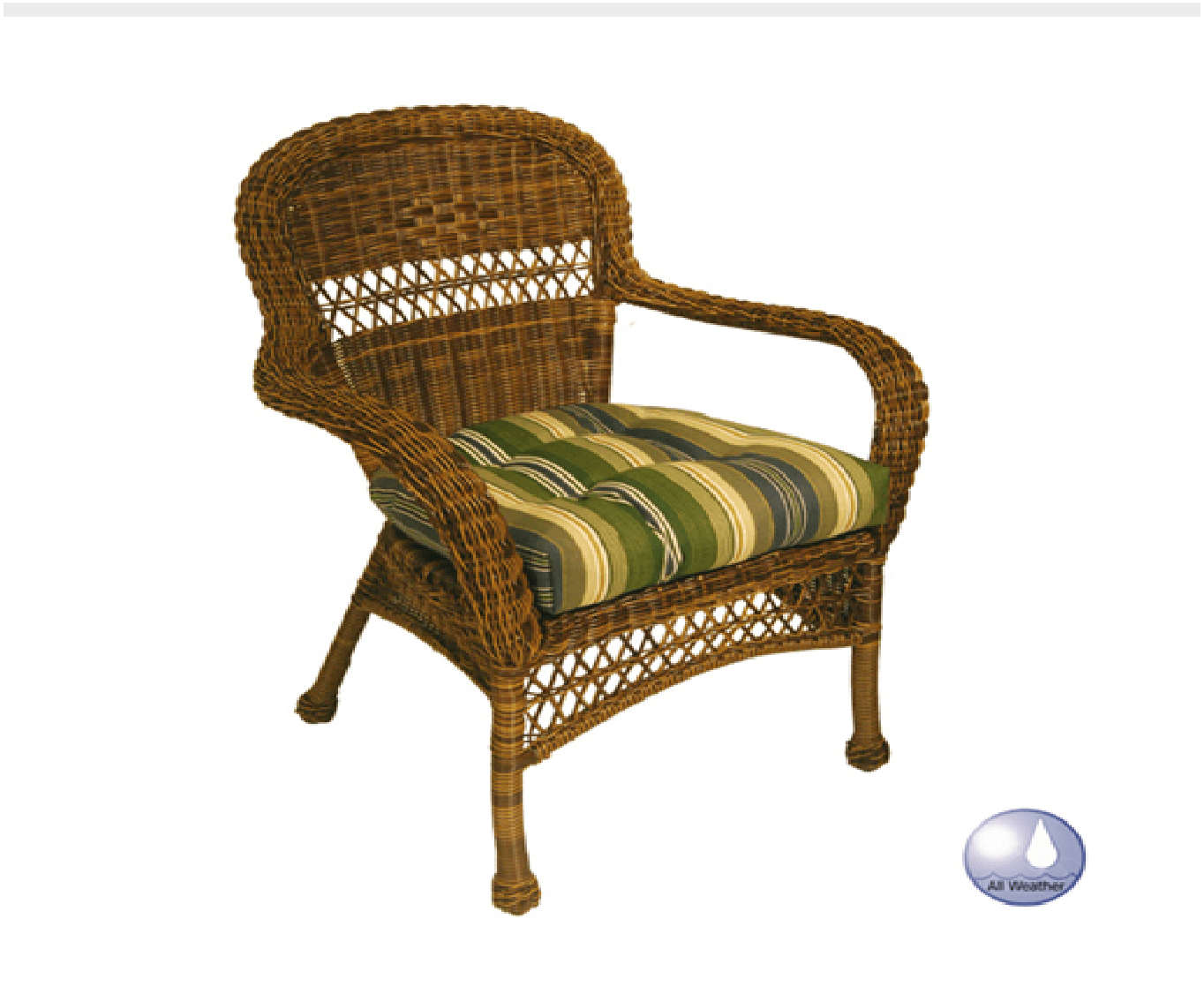 Charles Schober Resin Alum Dining Arm Chair With Cushion  - Rattan Imports