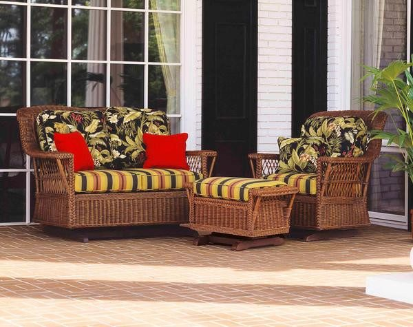 Designer Wicker & Rattan By Tribor Rockport Loveseat Glider by Designer Wicker from Tribor Loveseat - Rattan Imports