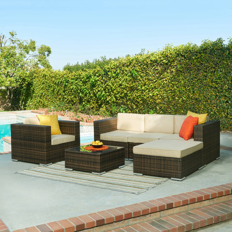 Thy-HOM Caribe 4-Piece All Weather Dark Brown Wicker Patio Seating Set with Beige Cushions by Thy HOM Conversation Set - Rattan Imports