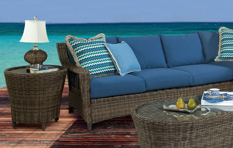 South Sea Rattan South Sea Rattan St. John One Arm Sofa Left-Side Facing Sectional Sectional Piece - Rattan Imports