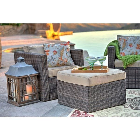 ... Caribe 4-Piece All Weather Dark Brown Wicker Patio Seating Set with  Beige Cushions- ... - Caribe 4-Piece Outdoor Wicker Seating Set For Patio Thy HOM