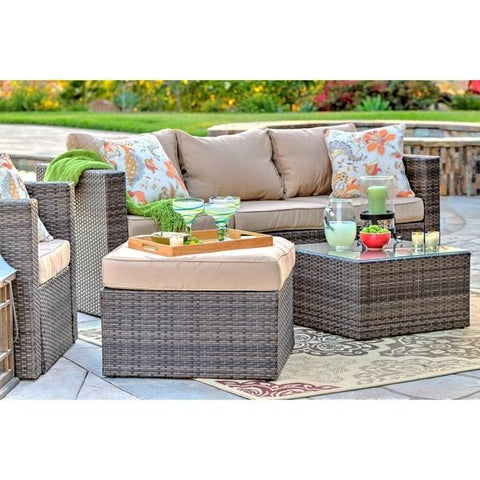 ... Caribe 4 Piece All Weather Dark Brown Wicker Patio Seating Set With  Beige Cushions  ...