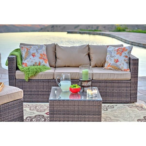 Marvelous ... Caribe 4 Piece All Weather Dark Brown Wicker Patio Seating Set With  Beige Cushions