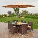 Caso 8-Piece All-Weather Wicker Dining Set Espresso Brown With Beige Umbrella and Pillows by Thy HOM