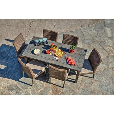 Winchester 7 Piece Outdoor Dining Set Brown Wicker Thy