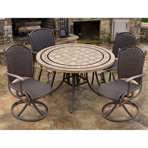 Tortuga Outdoor Tortuga Outdoor Marquesas 5 Piece Dining Set with  Swivel Chairs Dining Set - Rattan Imports