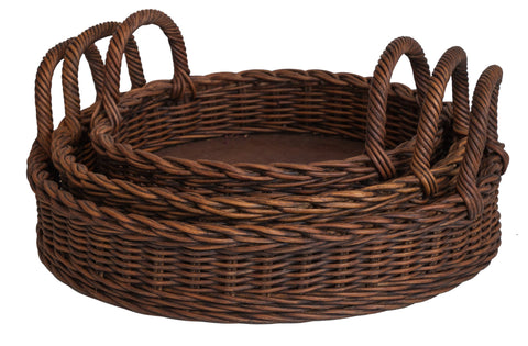 Designer Wicker & Rattan By Tribor Set of 3 Oval Trays Accessory - Rattan Imports