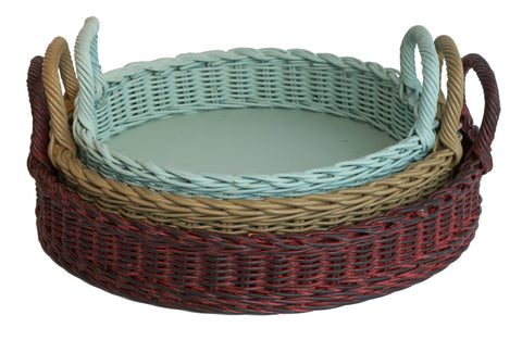 Set Of 3 Oval Trays Rattan Imports