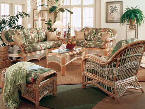 Spice Islands Spice Islands Seascape Loveseat Brownwash Loveseat - Rattan Imports