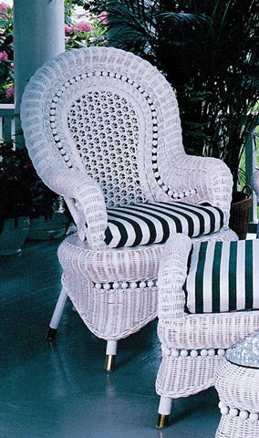 Yesteryear Wicker COUNTRY ARM CHAIR WHITE - FRAME ONLY  - Rattan Imports