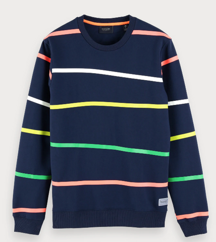 SCOTCH&SODA STRIPE NAVY CREW