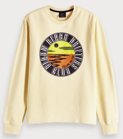 SCOTCH&SODA AMS BLAUW GRAPHIC YELLOW SWEATER