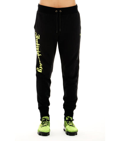 CULT INDIVIDUAL BLACK JOGGERS W/ OLD ENGLISH FONT