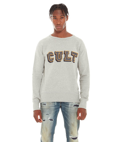 CULT FLEECE WITH COLLEGIATE PRINT (HEATHER GREY)