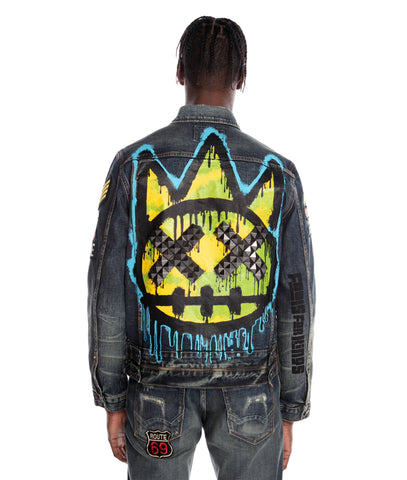 CULT PUNK SUPER SKINNY STRETCH IN SULFUR JACKET