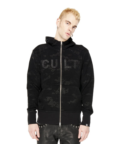 CULT SPLIT ZIP HOODY IN BLACK CAMO
