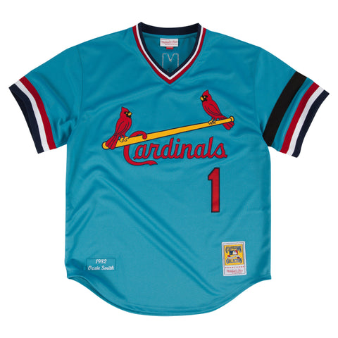 ST.LOUIS CARDINALS OZZIE SMITH #1 MITCHELL & NESS AUTHENTIC THROWBACK JERSEY