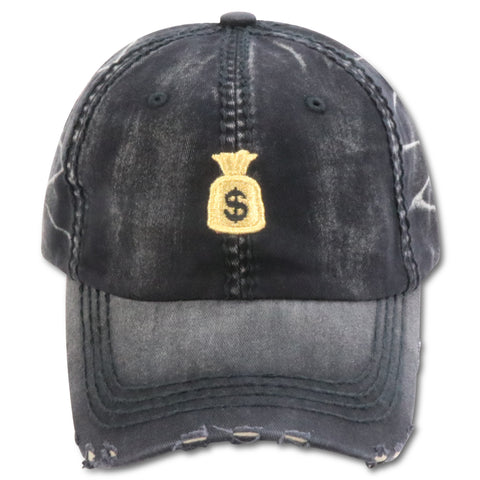 MIGHTY NYC BLACK MONEY BAG$ FADED DAD HAT