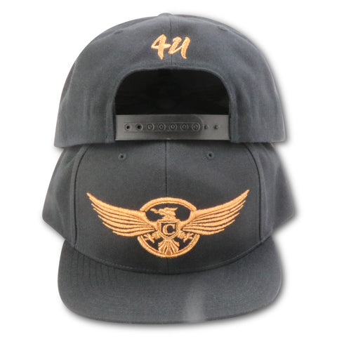 4U CUSTOM CHARLEMAGNE STRIPE CLUB DON! (BLACK/COPPER) SNAPBACK (COPPER FOAMS)