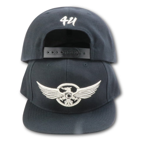 4U CUSTOM CHARLEMAGNE STRIPE CLUB DON! BLACK/SILVER SNAPBACK (SILVER SURFER FOAMS)