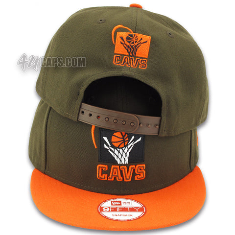 CLEVELAND CAVALIERS NEW ERA 9FIFTY SNAPBACK (BROWN / ORANGE)