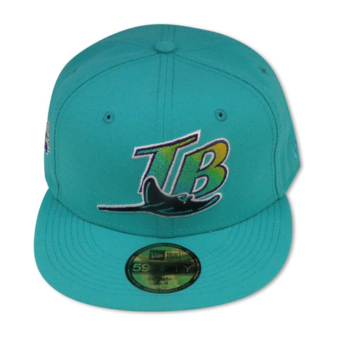 "TAMPA BAY DEVILRAYS TEAL  ""1998 INAUGURAL SEASON"" NEW ERA 59FIFTY FITTED (PURPLE BOTTOM)"