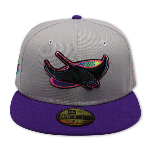TAMPA BAY DEVIL RAYS (GREY) (1998 INAUGURAL SEASON) NEW ERA 59FIFTY FITTED (NEON BOTTOM)