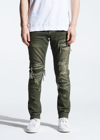 EMBELLISH  ROBINSON RIP AND REPAIR OLIVE JEANS