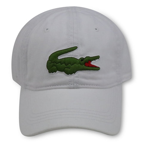 LACOSTE WHITE BIG CROC GABARDINE DAD HAT
