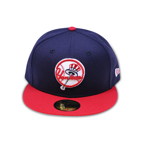 NEW YORK YANKEES TOP HAT LOGO RED BRIM 59FIFTY FITTED