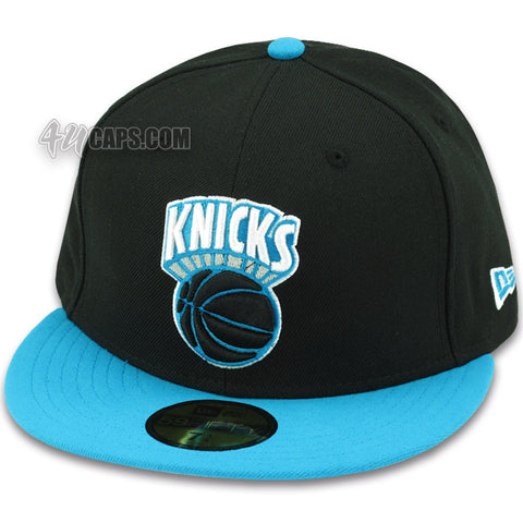NEW YORK KNICKS NEW ERA 59FIFTY FITTED HAT BLACK / BLUE JEWEL