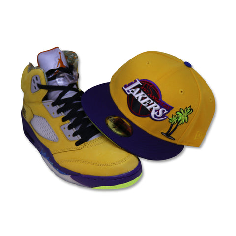 "LOS ANGELES LAKERS ""PALMTREE"" NEW ERA 59FIFTY FITTED (AIR JORDAN 5 RETRO WHAT THE)"